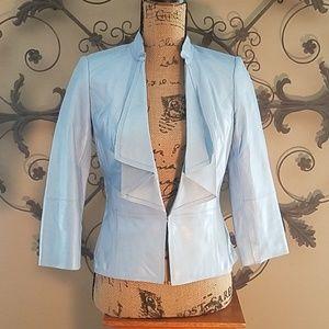 WHBM leather blue blazer beauty
